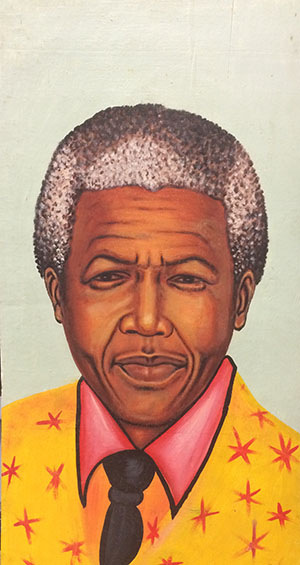 Hand-painted portrait of Nelson Mandela
