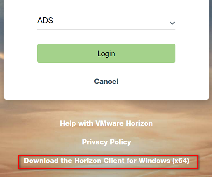 Screenshot - Download the Horizon Client